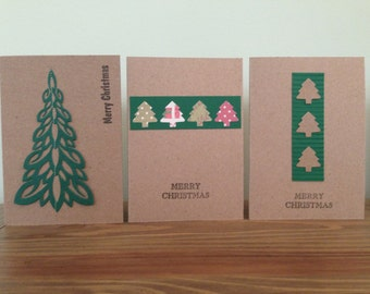 Christmas Card with Paper Tree Embellishments | A6 | Recycled Card