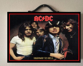 ACDC highway to hell + all album covers per year memorable keepsake double sided wooden poster 20cm X 13,5cm
