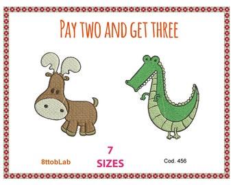 Embroidery design baby elk crocodile