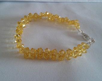 Bracelet swarovski bicones crystals woven