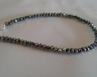 Bright multicolor beaded anklet