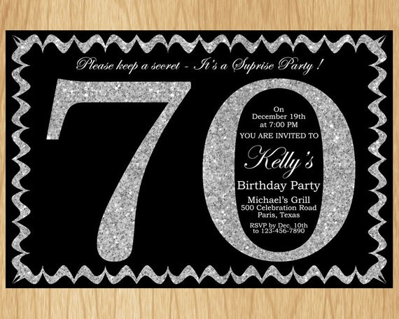 70th birthday invitation silver glitter birthday party invite adult il570xn filmwisefo Choice Image