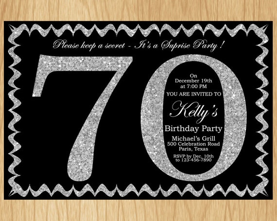 70th birthday invitation silver glitter birthday party invite adult il570xn filmwisefo