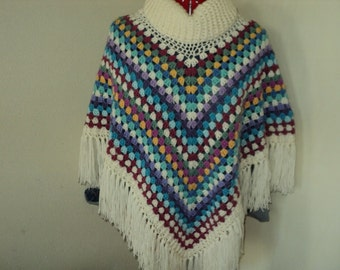 Bo-Ho style poncho with col, handmade *custom made, all color combinations possible*