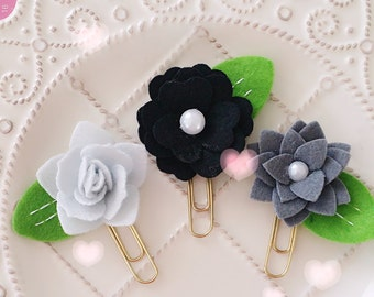 Planner Clip Set: Black Grey Felt Flowers Gold PaperClip | Page Clip | Bookmark | Page Marker . Planner accessories supply.