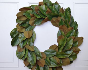 "Magnolia Wreath 24"" 20"" 16"" Artificial Everyday Magnolia Wreath Green Holiday Wreath Christmas Magnolia Wreath Magnolia Leaves Wreath"