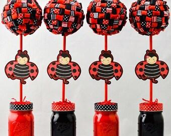 Ladybug Party Decor Ribbon Topiary Centerpieces Set of Four (4) Ladybug Party Decorations Black and Red Ladybug Party Decor