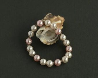 Swarovski, pearl, Bali sterling silver, bracelet, handmade, beaded, elegant, jewellery – Swarovski Pearl and Bali sterling silver