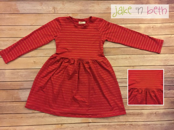 Girls long sleeve dress, Valentine's Day dress, red or pink with gold stripes