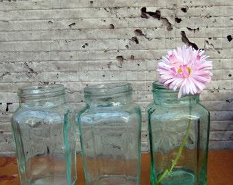 vintage jar/faceted glass/transparent Bank/ vintage Bank/clear  Bank/set 3 subject