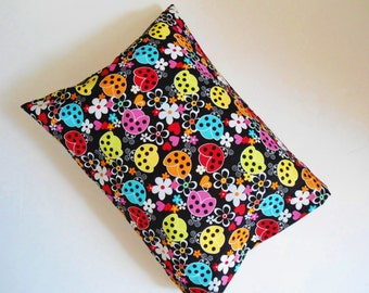 "Ladybugs Pillowcase, Camp Pillow Pillowcase, Travel Pillowcase, Toddler Pillowcase, Ladybugs Pillow Case, 18"" x 14"" , Pillow Cover, Handmade"