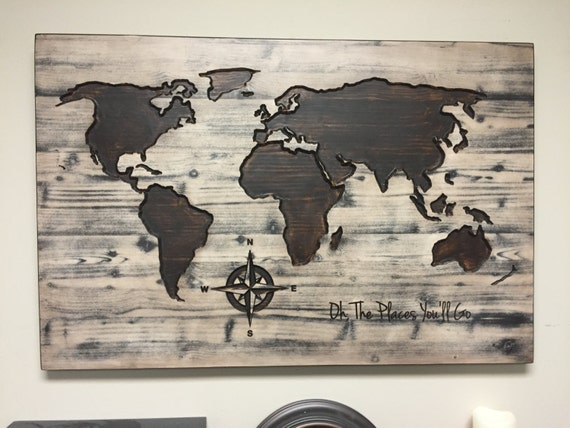 World Map Wall Art Oh The Places You'll Go Vintage
