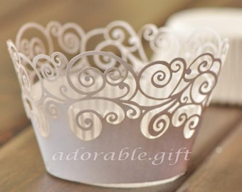 Cupcake Liners | White Pearly Classic Damask Cupcake Wrappers | Filigree Wedding Cake Wraps |Party Decoration Baby Shower Birthday (12pcs)