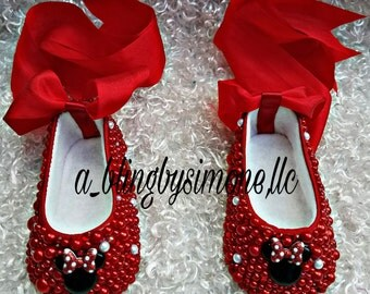 Strassed Minnie Mouse infant ballerina slippers