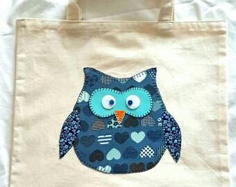 Owl tote bag, Owl market bag, Animal tote bag