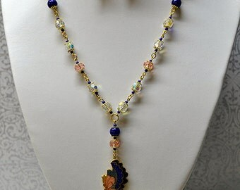 Butterfly crystal necklace earring kit