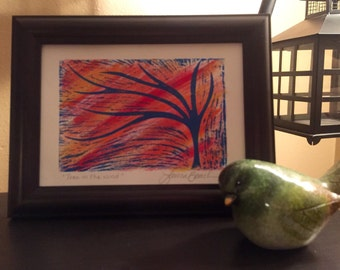 Tree in the Wind Wood Block Print - Original Painting - Tree Art - Relief Print - Bright & Colorful - Linocut Print