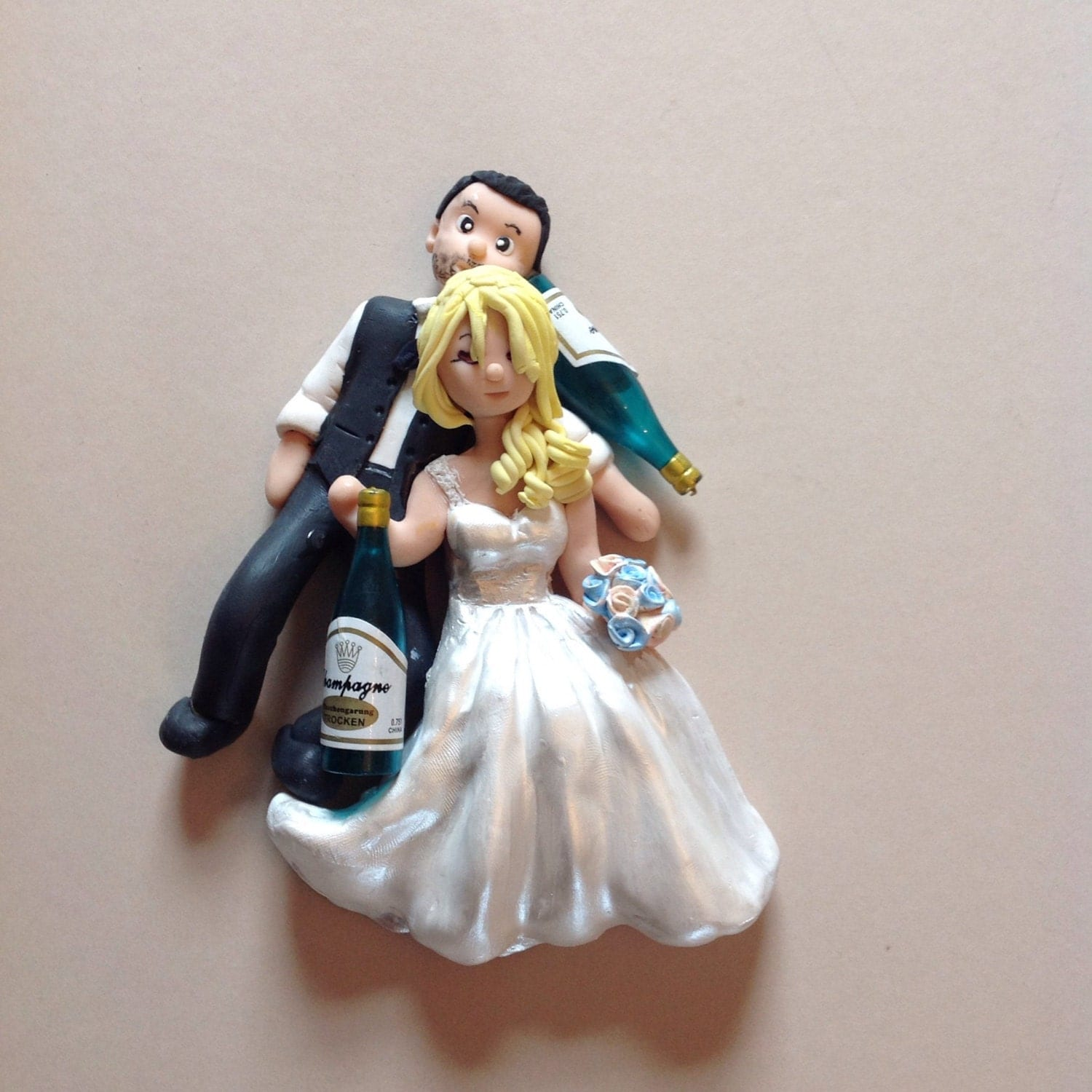 Wedding cake topper Drunk bride and groom Unique hand