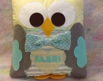 Personalized owl pillow, one of a kind bedding pillow, baby nursery pillow, baby room pillow, kids bed pillow, baby room owl theme
