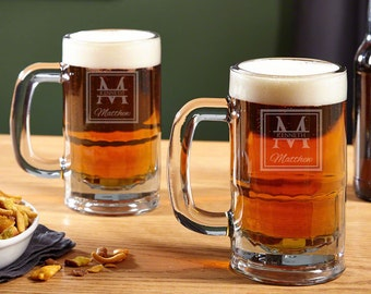 Oakhill Personalized Beer Mugs, Set of 2 - Custom Engraved with Name and Initials, Perfect Wedding Gift, Anniversary, Retirement, Birthday