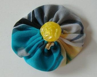 Fabric Yoyo Hair Clip, 2 Inch Hair Clip, Blue Gray Yellow Barrette, Hair Clip With Yellow Rose Bead, Repurposed Fabric, Suffolk Puff Clip