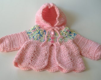 Crocheted Baby Sweater, Preemie Baby Sweater, Baby Shower Gift, Pink Sweater, Small Baby Hooded Sweater, Baby Girl Sweater, Cardigan