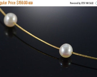 "1 Day Sale 14K 5.5mm White Pearl Cable Necklace 15.75"" Yellow Gold"