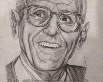 """Original drawing """"Beloved Dr. Jack Kevorkian"""" Dr. Death art 8x11"""