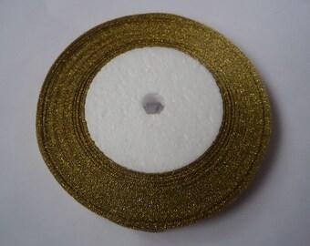 25 yards (22m) 10mm gold sparkle organza ribbon