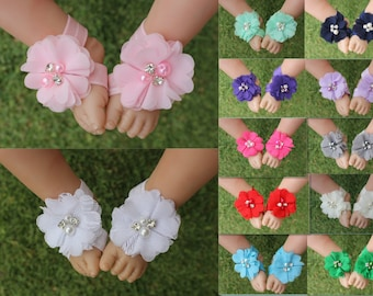 Handmade Baby Barefoot Sandals Girl Foot Flower Shoes Footwear Photo Prop Free Postage