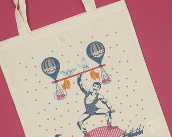 Tote bag collection circus, weightlifter