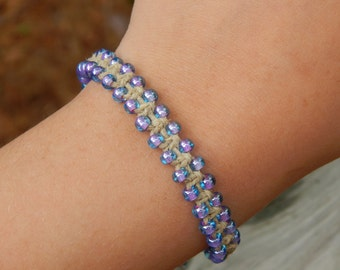 Colorful beaded hemp bracelet