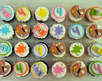 Paint Themed Cupcake Toppers (100% Edible) Dozen