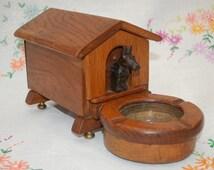 Vintage Oak Novelty Dog Kennel Cigarette Box/Ashtray - 1920's