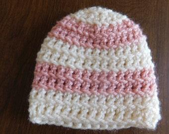Pink and Cream Stripe Beanie