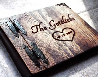 Heart Wedding Guest Book, Unique Guest book, Wood Wedding Guest Book + Leather, Rustic Wedding Guest book Idea, Personalized Wood Guest Book