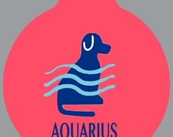 Aquarius Zodiac ID Tag