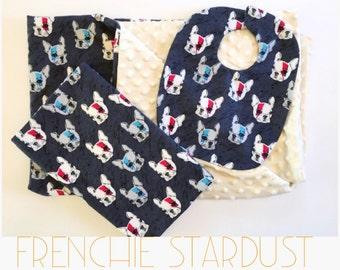 Baby blanket, bib, and burp cloth set. Frenchie stardust. Ziggy stardust.