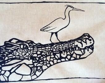 Australian/ Crocodile/ Bird /Tea Towel/ handmade/screenprinted