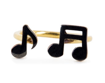 925 Silver Handmade Musical Notes Ring / Yellow Gold and Black Rhodium Plated - Worldwide Free Shipping