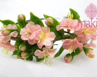 Cherry blossoms - Flower headband - floral headband - headpiece - hair accessories - polymer clay flowers - white flowers - rustic wedding