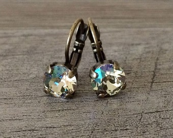 Swarovski Crystal 8mm Earrings Gorgeous Luminous Green set in Antique Brass