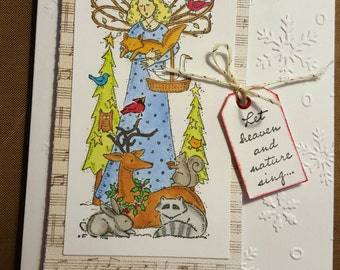 Christmas angel with forrest animals