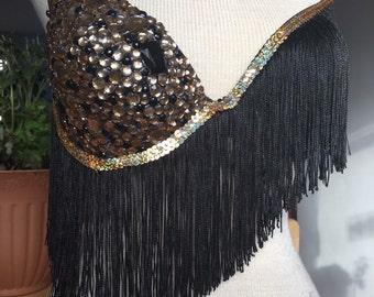 Black and gold shimmy rave bra