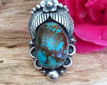 Natural Bisbee Turquoise Statement ring/ Sterling silver/ Artisan Handmade/ Size 8