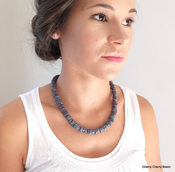 Statement necklace, necklace, jewellery, handmade, one of a kind, ooak necklace, artisan, tribal, ethnic, statement, blue, indigo, unique