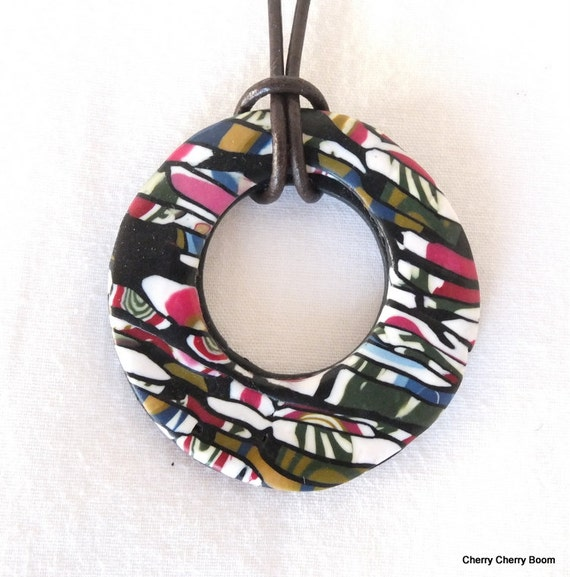 Polymer clay pendant, pendant, necklace, jewellery, boho, polymer pendant, ethnic, colourful, bold, bright, gypsy, pink, black, fimo, gift