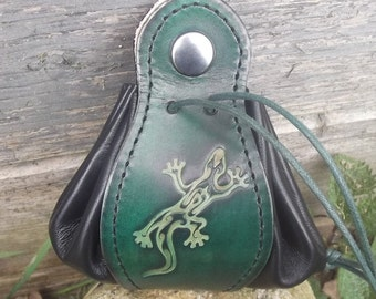 """Leather  pouch, , salamander design , """"vert menthe/green and black""""( 16 colour to choose) , 2 sizes available"""