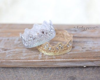 Newborn Lace Crown, Photography Props, Gold Silver Crown