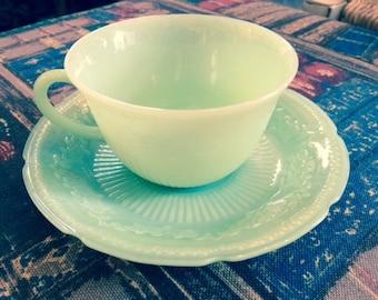 "Jadeite - Fire King ""Alice"" Tea Cup and Saucer"